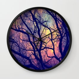 Black Trees Deep Pastels Space Wall Clock