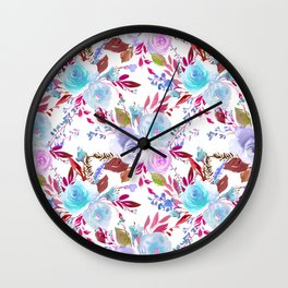 Modern pink lavender white watercolor floral Wall Clock