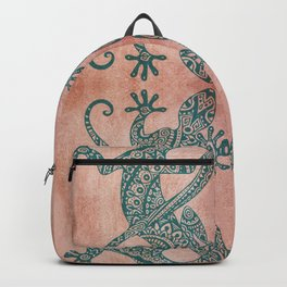 Bohemian tribal lizard pattern in teal and terracotta tones Backpack