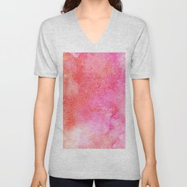 Abstract blush pink lilac orange hand painted watercolor Unisex V-Neck