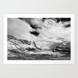 Mountains | Glaciers and clouds | Black and White | photography Art Print