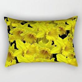 YELLOW SPRING KING ALFRED DAFFODILS ON BLACK Rectangular Pillow