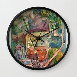 Flowers and paints.. Wall Clock