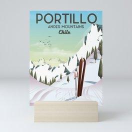 Portillo Ski Chile Ski travel poster. Mini Art Print