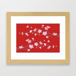 Cherry Blossom - Red Framed Art Print