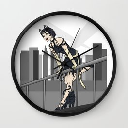 Catwoman on a Ledge  Wall Clock