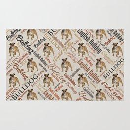 English Bulldog Word Art Rug