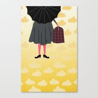 mary poppins Canvas Prints featuring Mary Poppins by Prelude Posters
