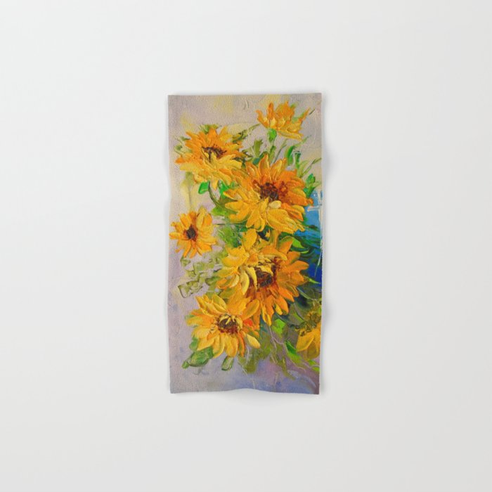 Bouquet of sunflowers in a vase Hand & Bath Towel