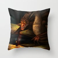 smaug Throw Pillows featuring Smaug by wolfanita