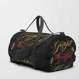 Grateful, Thankful, Blessed Design on Black Duffle Bag
