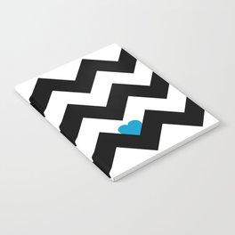 Heart & Chevron - Black/Blue Notebook