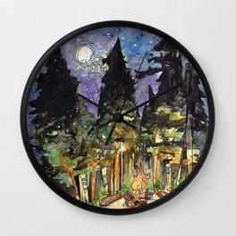 Campfire Under a Full Moon Wall Clock