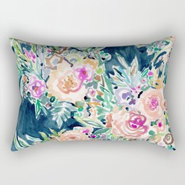 SO RICH Dark Boho Floral Rectangular Pillow