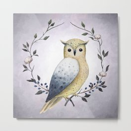 A Long Eared Owl On A Laurel Metal Print