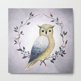 A Long Eared Owl On A Laurel Metal Print