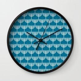 Hanukkah Menorah Pattern in White and Teal Blue  Wall Clock