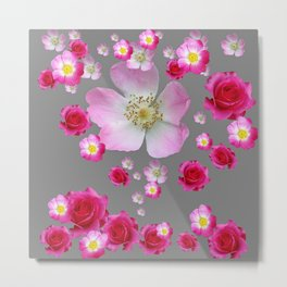 FUCHSIA PINK & RED ROSES ON GREY Metal Print