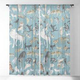 Wolves of the World pattern 2 Sheer Curtain