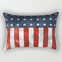 American Flag Stars and Stripes Distressed Grunge 4th. July Rectangular Pillow