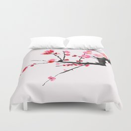 red plum flower red background Duvet Cover