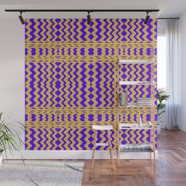 Bright Purple Yellow Wavy Lines Wall Mural