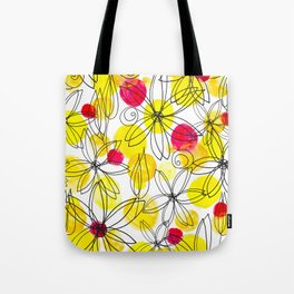 Pineapple Upside Down Floral: Bright Paint Spots with Black Ink Floral Elements Tote Bag