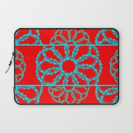 Turquoise & Red Overlapping Scalloped Links & Rings Laptop Sleeve