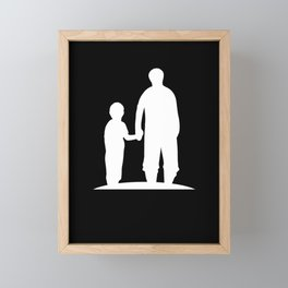 Father And Son Daughter Walk Daddy Fatherhood Gift Framed Mini Art Print
