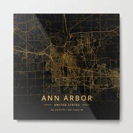 Ann Arbor, United States - Gold Metal Print
