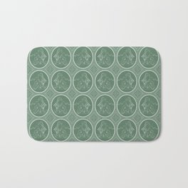 Grisaille Fern Green Neo-Classical Ovals Bath Mat