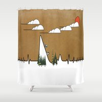 ski Shower Curtains featuring Hart beat ski jumper. by South43