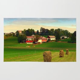 Hay bales and country village | landscape photography Rug