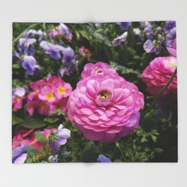Spring Rosy Ranunculus And Primrose With Violet Violas Throw Blanket