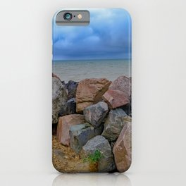 Happisburgh beach on a stormy afternoon iPhone Case