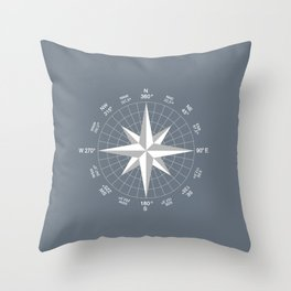 Compass in White on Slate Grey color Throw Pillow