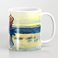 yoga Mugs featuring yoga by Chantale Roger