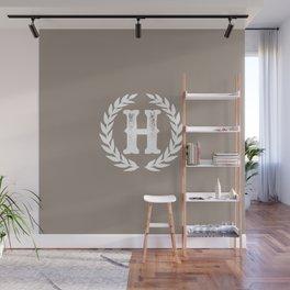 Beige Monogram: Letter H Wall Mural