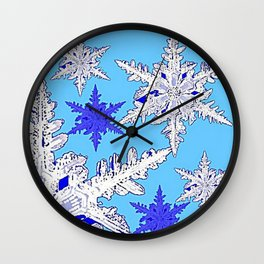 BEAUTIFUL BLUE & WHITE SNOW CRYSTALS  DESIGN Wall Clock