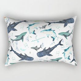 floral shark pattern Rectangular Pillow