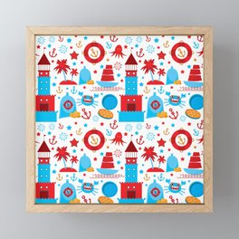pattern with sea icons on white background. Seamless pattern. Red and blue Framed Mini Art Print