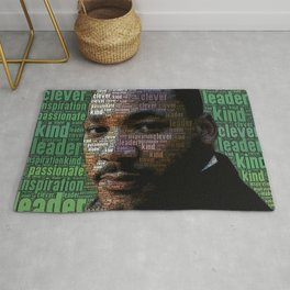 African American Martin Luther King Memorial Portrait Rug
