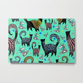 Blue Snobby Cocktail Cats Metal Print