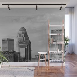 Downtown Louisville Skyline - Black and White Wall Mural