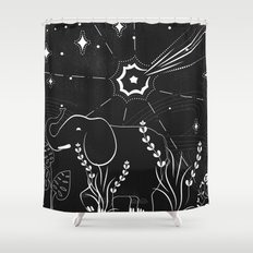 Elephant and comet Shower Curtain
