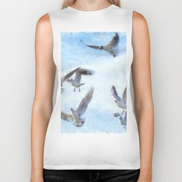 Gulls In Flight Watercolor Biker Tank