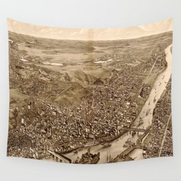 Vintage Pictorial Map of Troy NY (1881) Wall Tapestry