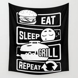 Eat Sleep Grill Repeat - BBQ Barbecue Griller Wall Tapestry