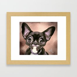 Boston Terrier Dog Digital Paint Framed Art Print
