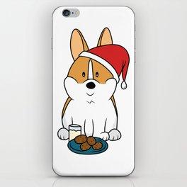 Corgi Santa Milk and Cookies iPhone Skin